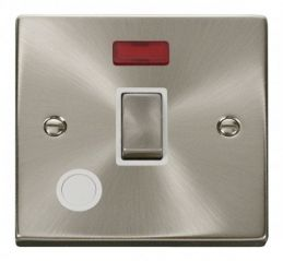 Scolmore Click Deco VPSC523WH 20A 1 Gang DP Ingot Switch With Flex Outlet And Neon - White