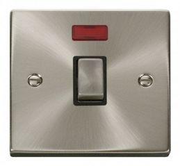 Scolmore Click Deco VPSC723BK 20A 1 Gang DP Ingot Switch + Neon - Black