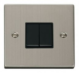 Scolmore Click Deco VPSS012BK 2 Gang 2 Way 10AX Switch - Black