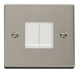 Scolmore Click Deco VPSS012WH 2 Gang 2 Way 10AX Switch - White