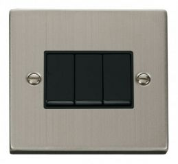 Scolmore Click Deco VPSS013BK 3 Gang 2 Way 10AX Switch - Black