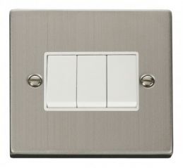 Scolmore Click Deco VPSS013WH 3 Gang 2 Way 10AX Switch - White