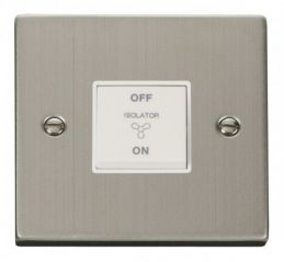 Scolmore Click Deco VPSS020WH 10A 1 Gang 3 Pole Fan Isolation Switch - White