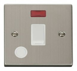 Scolmore Click Deco VPSS023WH 20A 1 Gang DP Switch With Flex Outlet And Neon - White