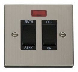 Scolmore Click Deco VPSS024BK 20A DP Sink/Bath Switch - Black
