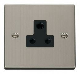 Scolmore Click Deco VPSS038BK 5A Round Pin Socket Outlet - Black