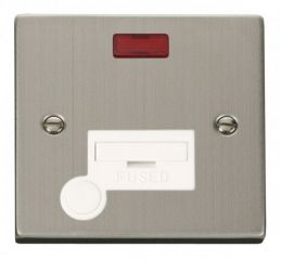 Scolmore Click Deco VPSS053WH 13A Fused Connection Unit With Flex Outlet & Neon - White
