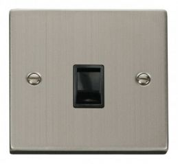 Scolmore Click Deco VPSS115BK Single RJ11 Socket (Ireland/USA) - Black