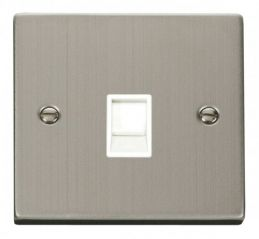 Scolmore Click Deco VPSS115WH Single RJ11 Socket (Ireland/USA) - White