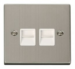 Scolmore Click Deco VPSS121WH Twin Telephone Socket Outlet Master - White