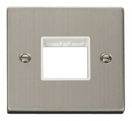 Scolmore Click Deco VPSS402WH 1 Gang Plate Twin Aperture - White