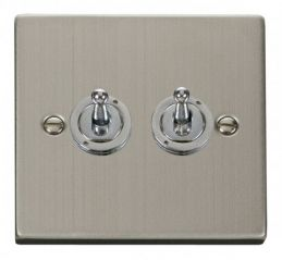 Scolmore Click Deco VPSS422 2 Gang 2 Way 10AX Toggle Switch