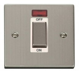 Scolmore Click Deco VPSS501WH 1 Gang 45A Ingot DP Switch With Neon - White