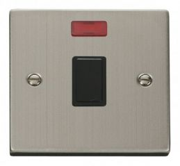 Scolmore Click Deco VPSS623BK 20A 1 Gang DP Switch + Neon - Black