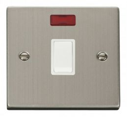 Scolmore Click Deco VPSS623WH 20A 1 Gang DP Switch + Neon - White