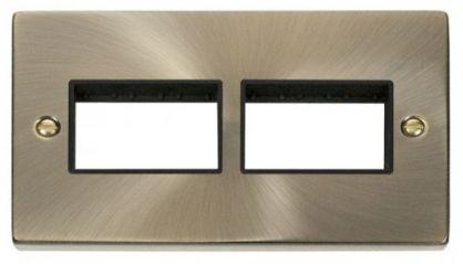 Scolmore Click Deco VPAB406BK 2 Gang Plate (3 x 3) Aperture - Black