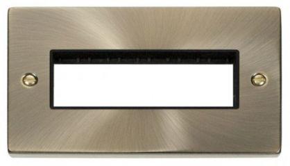 Scolmore Click Deco VPAB426BK 2 Gang Plate 6 In-Line Aperture - Black