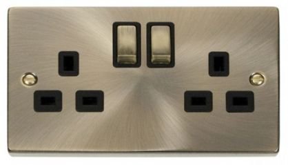 Scolmore Click Deco VPAB536BK 2 Gang 13A DP Ingot Switched Socket Outlet - Black