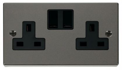 Scolmore Click Deco VPBN036BK 2 Gang 13A DP Switched Socket Outlet