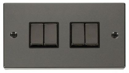 Scolmore Click Deco VPBN414BK 4 Gang 2 Way Ingot 10AX Switch