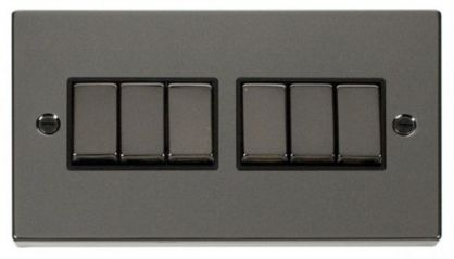 Scolmore Click Deco VPBN416BK 6 Gang 2 Way Ingot 10AX Switch