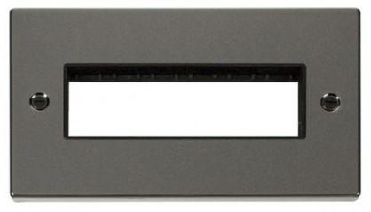 Scolmore Click Deco VPBN426BK 2 Gang Plate 6 In-Line Aperture