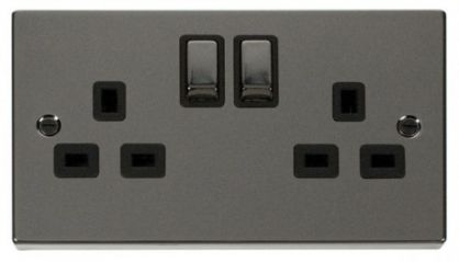 Scolmore Click Deco VPBN536BK 2 Gang 13A DP Ingot Switched Socket Outlet