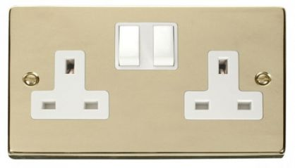 Scolmore Click Deco VPBR036WH 2 Gang 13A DP Switched Socket Outlet - White