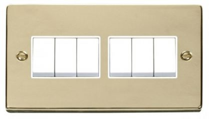 Scolmore Click Deco VPBR105WH 6 Gang 2 Way 10AX Switch - White