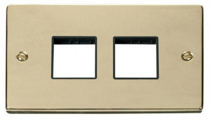 Scolmore Click Deco VPBR404BK 2 Gang Plate (2 x 2) Aperture - Black