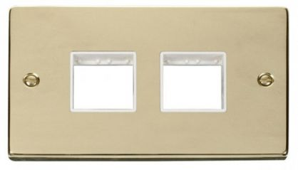 Scolmore Click Deco VPBR404WH 2 Gang Plate (2 x 2) Aperture - White