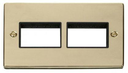 Scolmore Click Deco VPBR406BK 2 Gang Plate (3 x 3) Aperture - Black