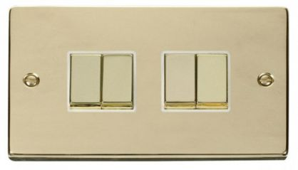 Scolmore Click Deco VPBR414WH 4 Gang 2 Way Ingot 10AX Switch - White