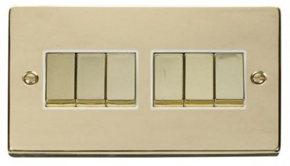 Scolmore Click Deco VPBR416WH 6 Gang 2 Way Ingot 10AX Switch - White
