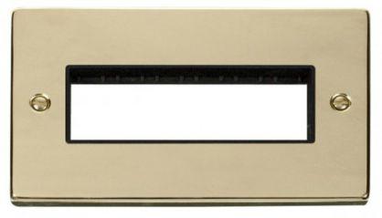 Scolmore Click Deco VPBR426BK 2 Gang Plate 6 In-Line Aperture - Black