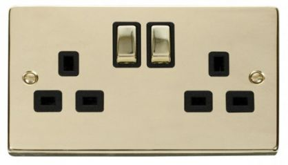 Scolmore Click Deco VPBR536BK 2 Gang 13A DP Ingot Switched Socket Outlet - Black