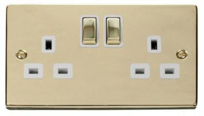 Scolmore Click Deco VPBR536WH 2 Gang 13A DP Ingot Switched Socket Outlet - White