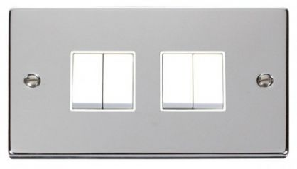 Scolmore Click Deco VPCH019WH 4 Gang 2 Way 10AX Switch - White