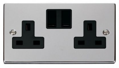 Scolmore Click Deco VPCH036BK 2 Gang 13A DP Switched Socket Outlet - Black