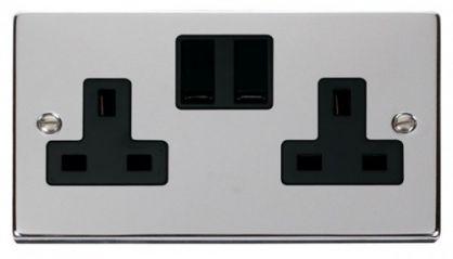 Scolmore Click Deco VPCH036BK 2 Gang 13A DP Switched Socket Outlet - Black