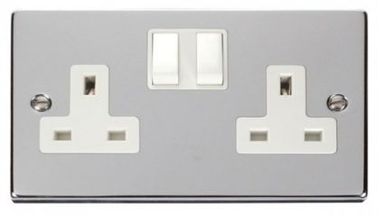 Scolmore Click Deco VPCH036WH 2 Gang 13A DP Switched Socket Outlet - White