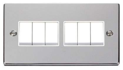 Scolmore Click Deco VPCH105WH 6 Gang 2 Way 10AX Switch - White