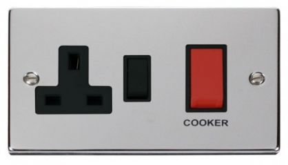 Scolmore Click Deco VPCH204BK 45A DP Switch + 13A Switched Socket - Black