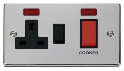 Scolmore Click Deco VPCH205BK 45A DP Switch + 13A Switched Socket & Neons (2) - Black