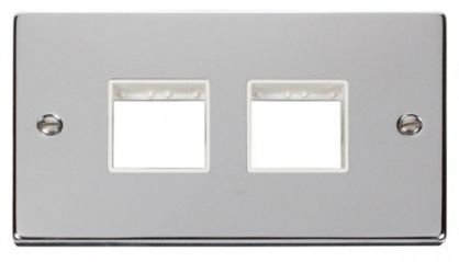 Scolmore Click Deco VPCH404WH 2 Gang Plate (2 x 2) Aperture - White