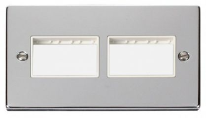 Scolmore Click Deco VPCH406WH 2 Gang Plate (3 x 3) Aperture - White