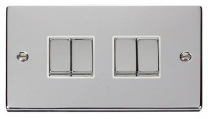 Scolmore Click Deco VPCH414WH 4 Gang 2 Way Ingot 10AX Switch - White