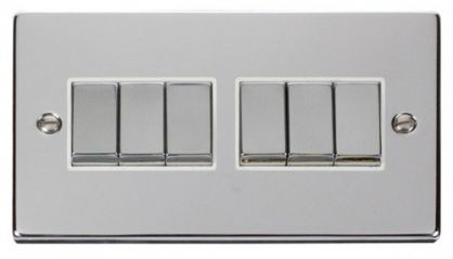 Scolmore Click Deco VPCH416WH 6 Gang 2 Way Ingot 10AX Switch - White