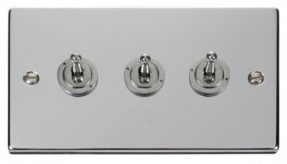 Scolmore Click Deco VPCH423 3 Gang 2 Way 10AX Toggle Switch