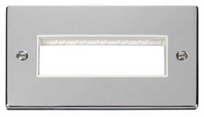 Scolmore Click Deco VPCH426WH 2 Gang Plate 6 In-Line Aperture - White